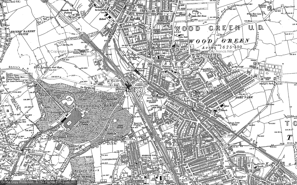 Old Map of Historic Map covering Alexandra Palace in 1894