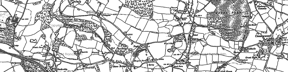 Old map of Wood's Green in 1907