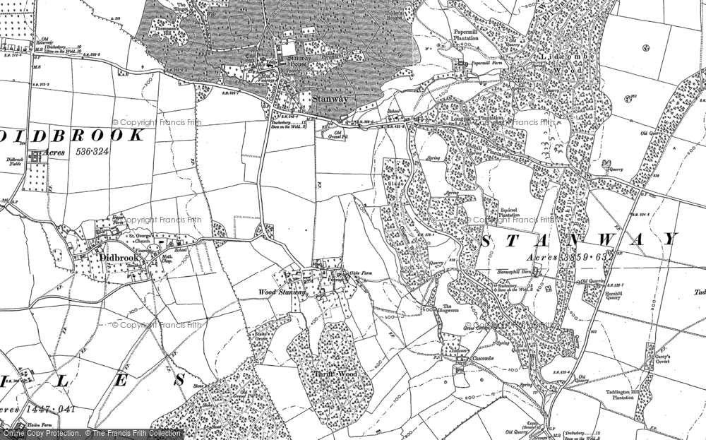 Old Map of Wood Stanway, 1883 in 1883