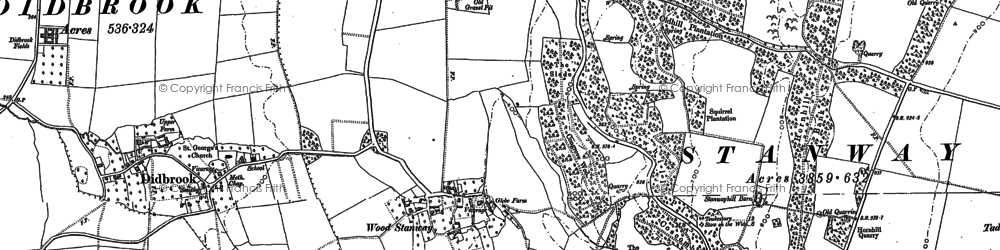 Old map of Wood Stanway in 1883