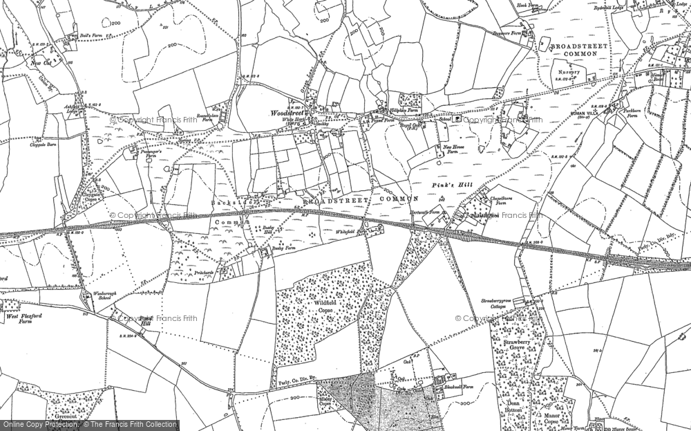 Old Map of Wood Street Village, 1895 in 1895