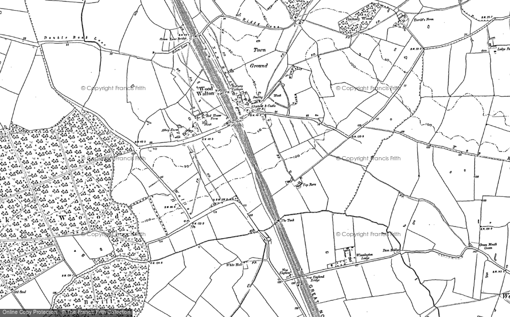 Old Map of Wood Walton, 1887 in 1887
