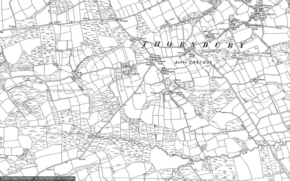 Old Map of Woodacott, 1884 in 1884