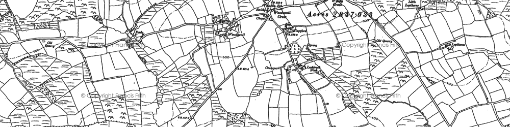 Old map of Wonford in 1884