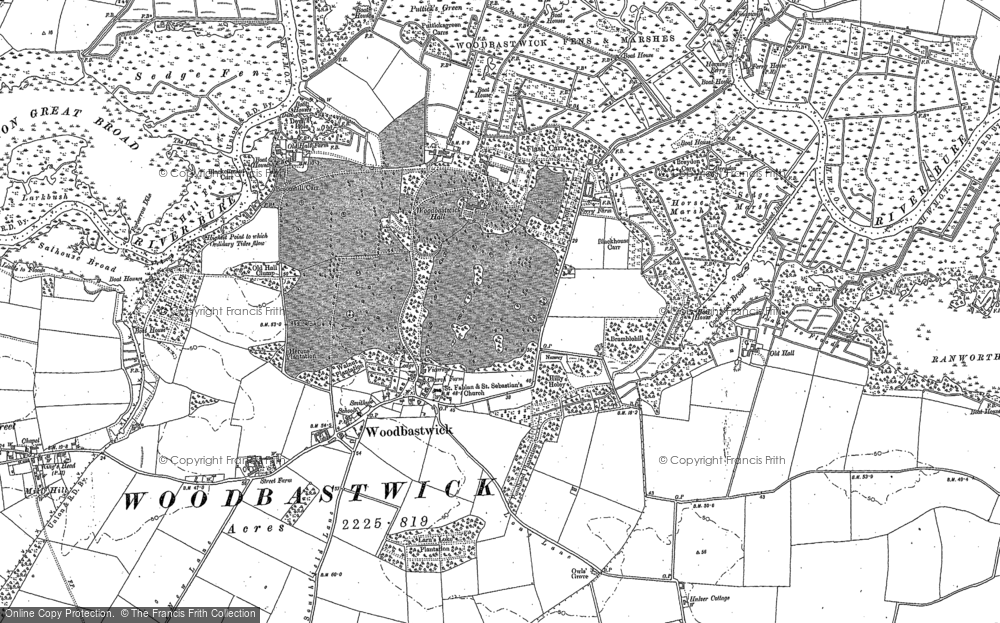Old Map of Woodbastwick, 1881 in 1881