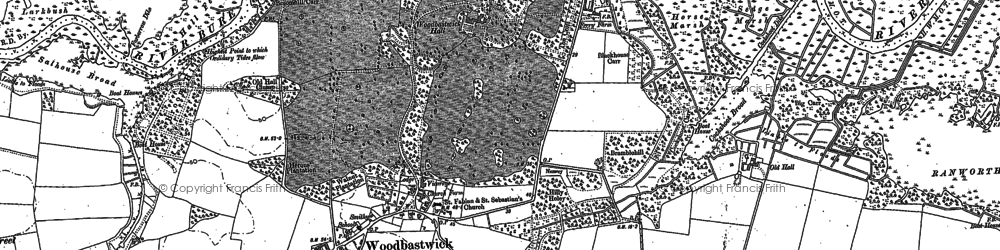 Old map of Woodbastwick in 1881