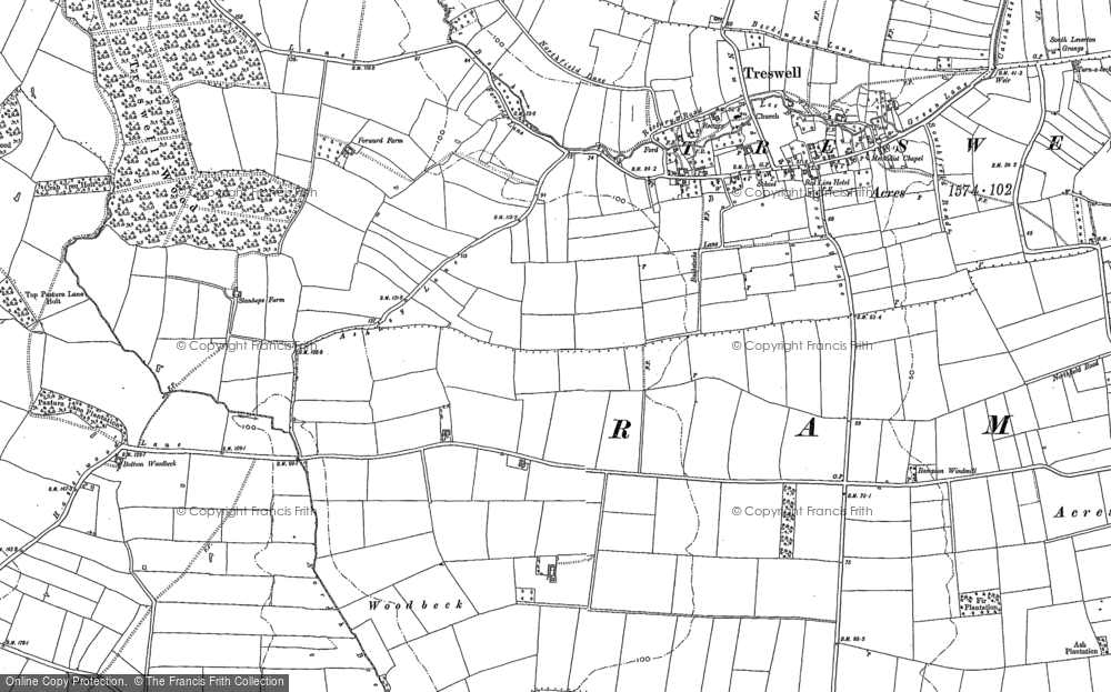 Old Map of Woodbeck, 1884 in 1884