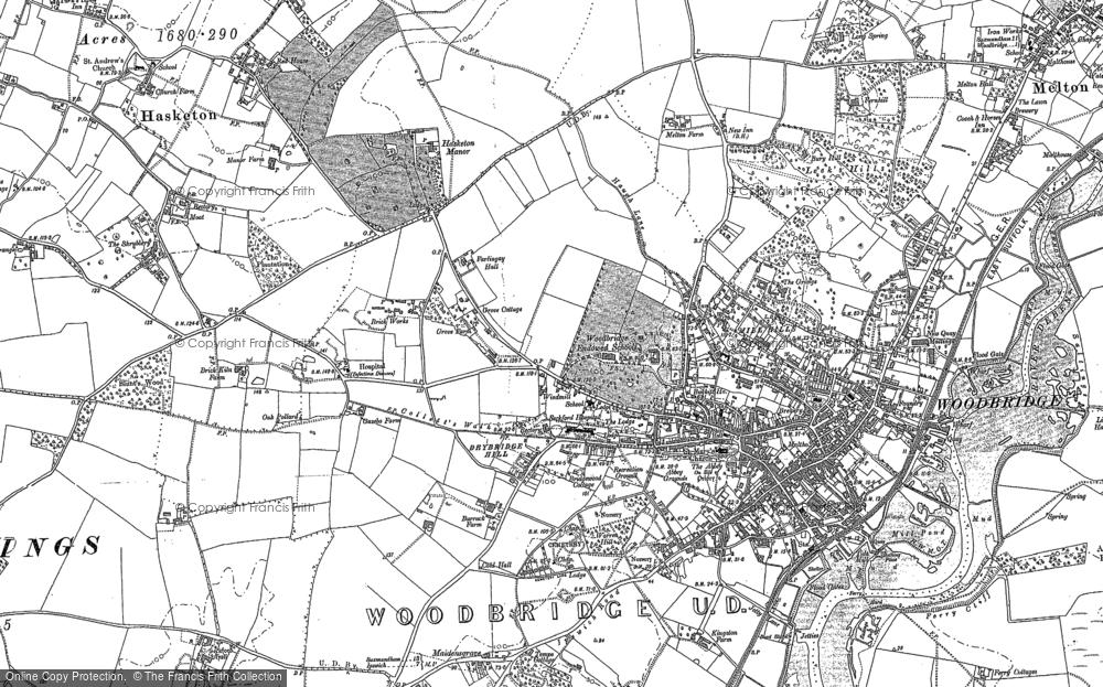 Old Map of Woodbridge, 1881 in 1881