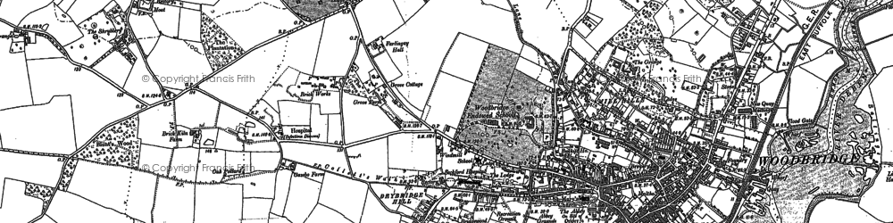 Old map of Woodbridge in 1881