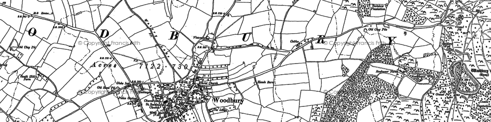 Old map of Woodbury in 1888