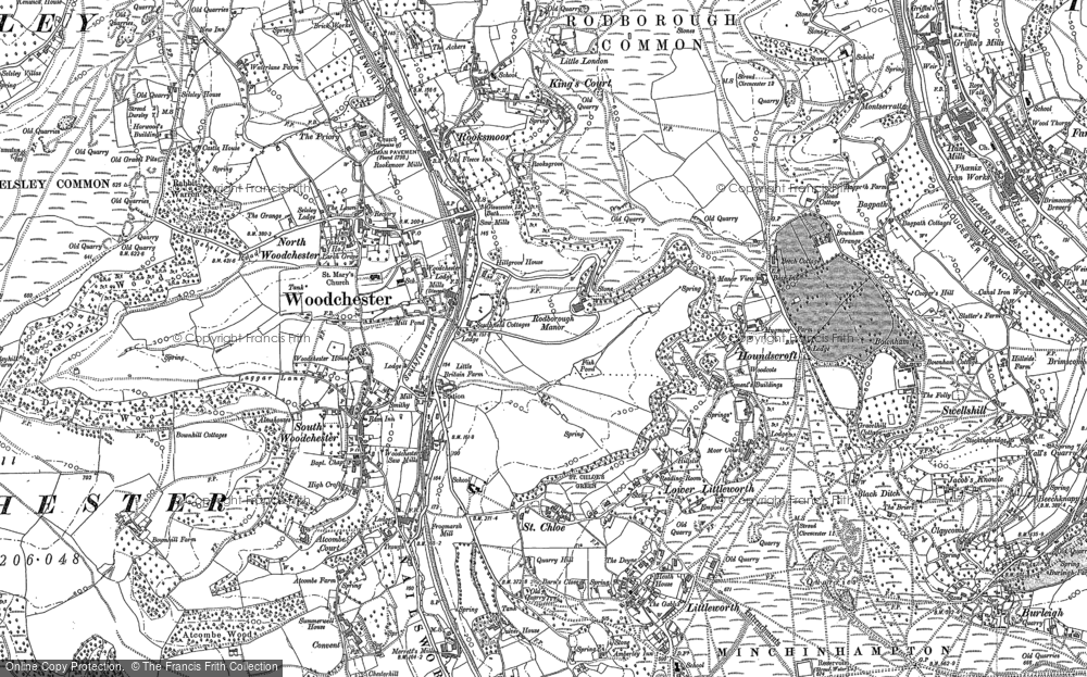 Old Map of Woodchester, 1882 in 1882