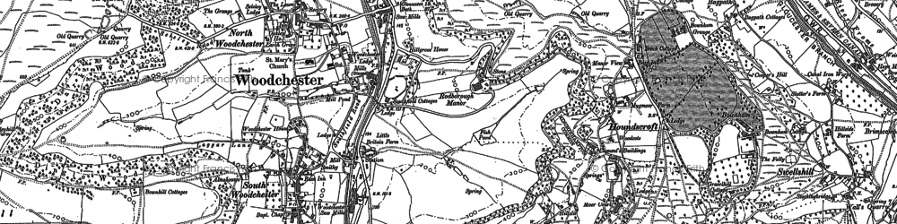 Old map of Woodchester in 1882