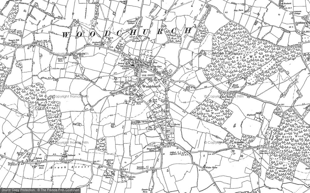 Map of Woodchurch, 1895 - 1896