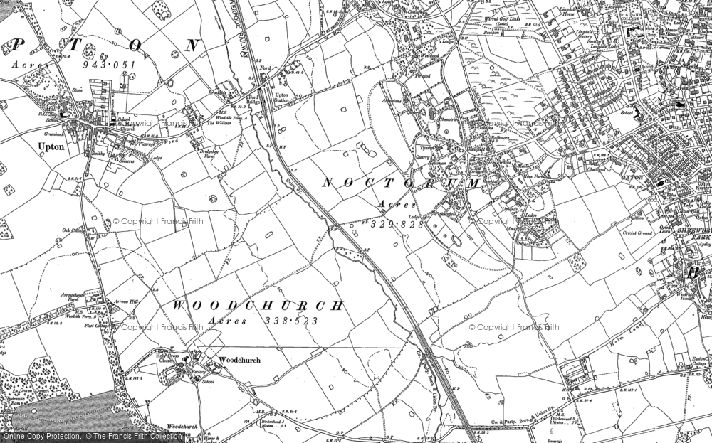 Old Map of Woodchurch, 1909 in 1909