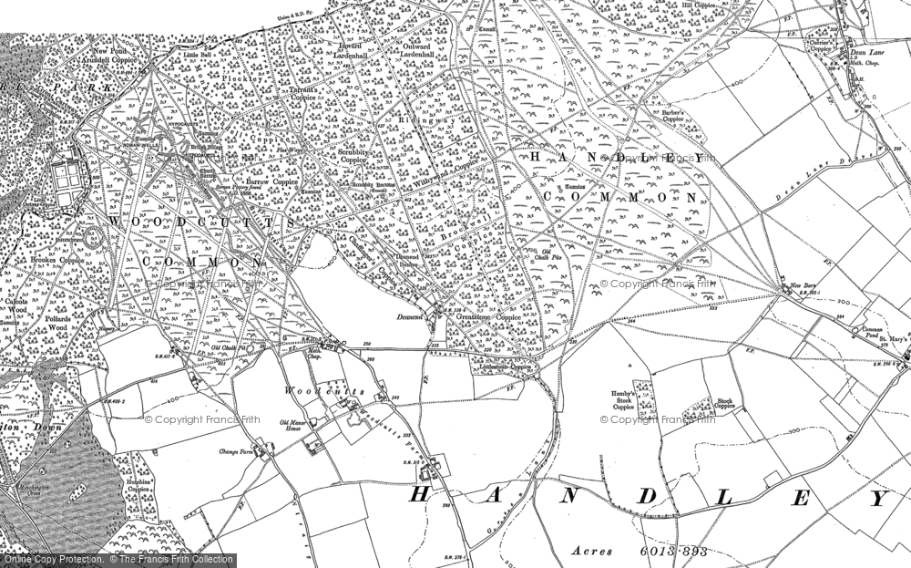 Old Map of Woodcutts, 1886 - 1900 in 1886