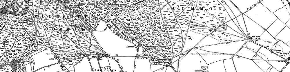 Old map of Woodcutts in 1886