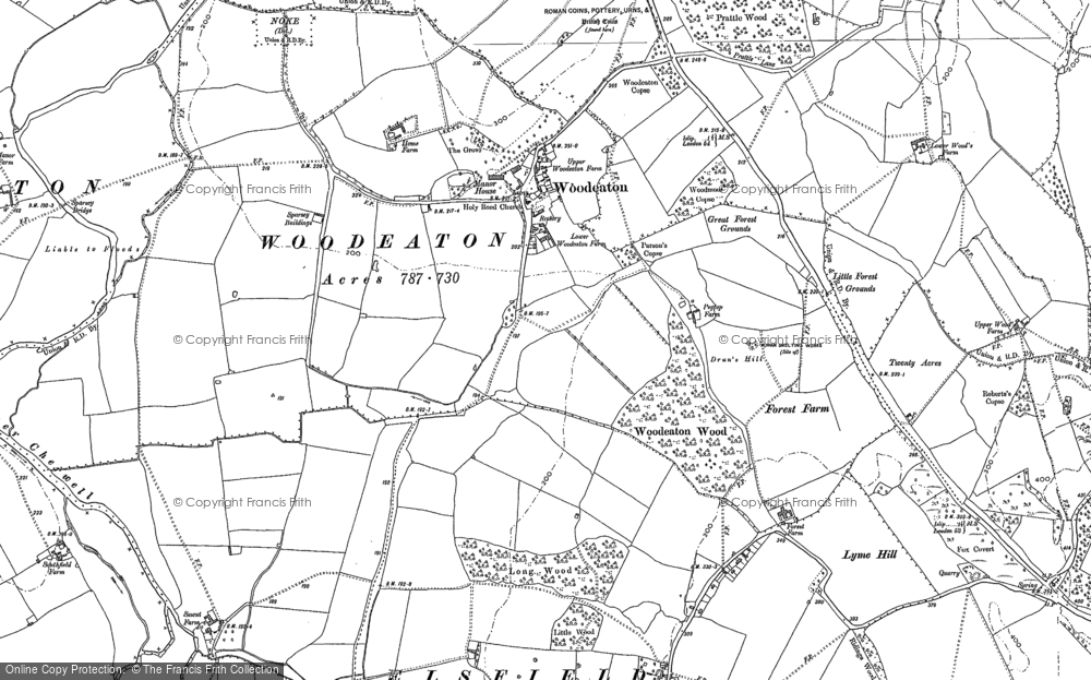 Old Map of Woodeaton, 1898 in 1898