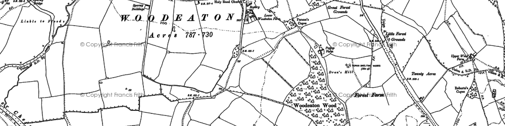 Old map of Woodeaton in 1898