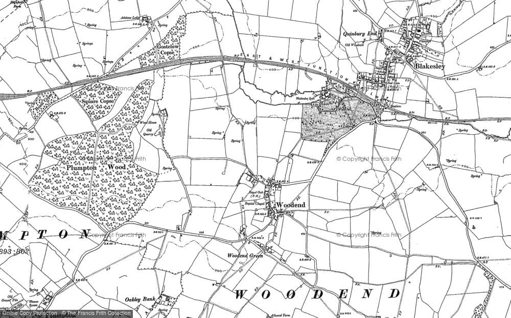 Old Map of Woodend, 1883 in 1883