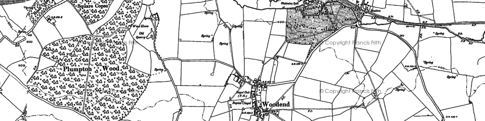 Old map of Woodend Green in 1883