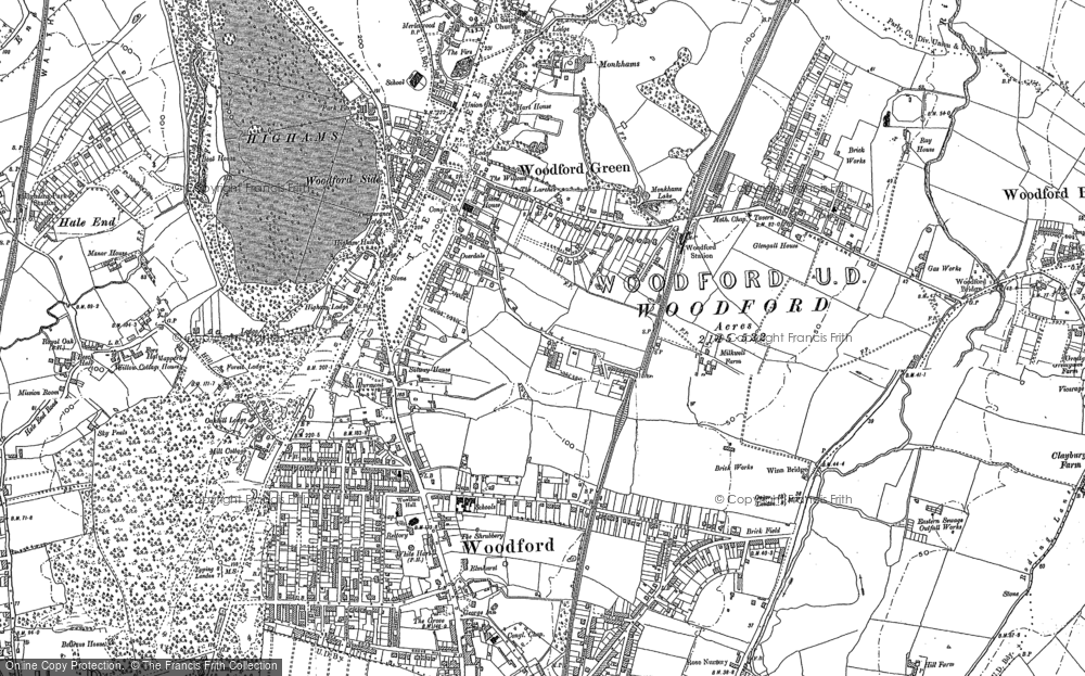 Old Map of Historic Map covering Woodford Wells in 1895