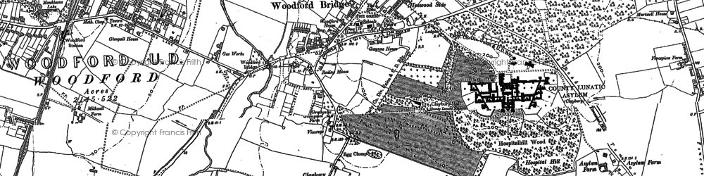 Old map of Woodford Bridge in 1895