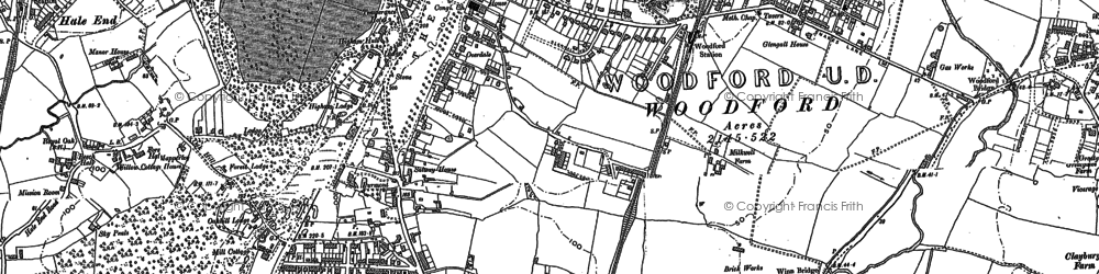 Old map of Woodford Green in 1895