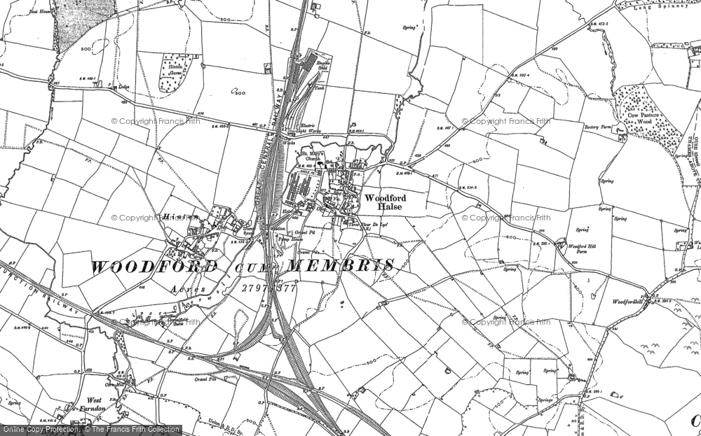 Map of Woodford Halse, 1883 - 1899