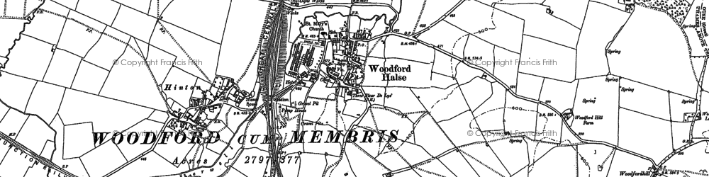 Old map of Woodford Halse in 1883