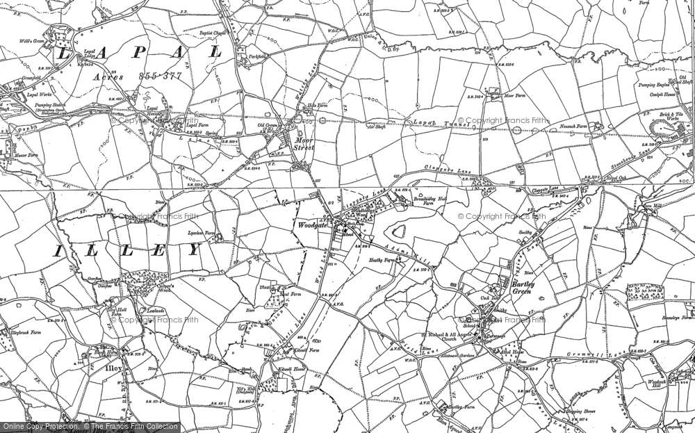Old Map of Historic Map covering Woodgate Valley in 1882