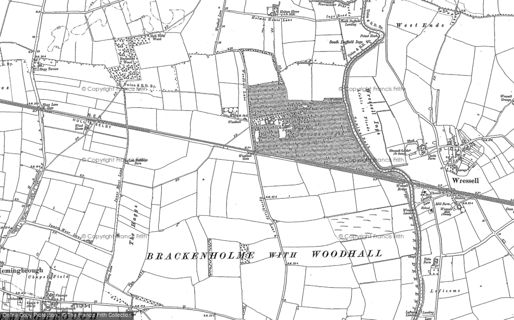 Old Map of Woodhall, 1889 in 1889
