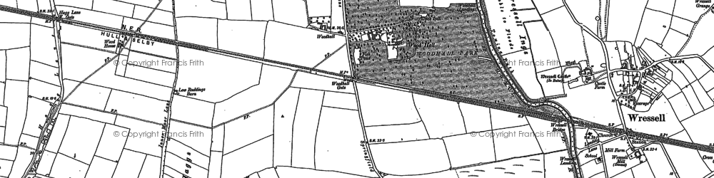 Old map of Woodhall in 1889