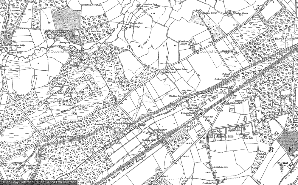 Old Map of Woodham, 1895 in 1895