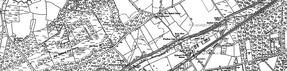 Old map of Woodham in 1895