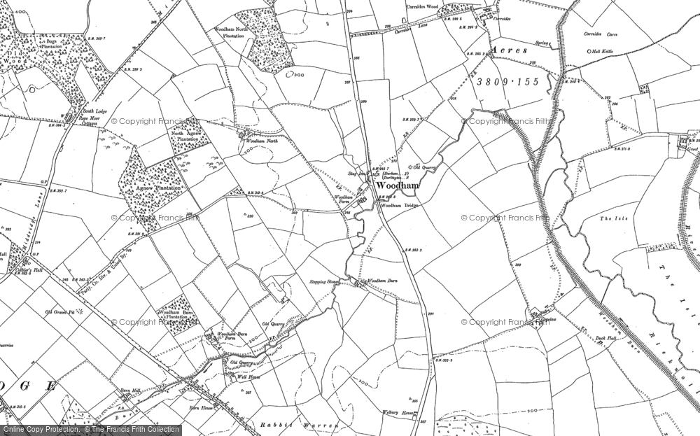 Old Map of Historic Map covering Woodham Burn in 1896