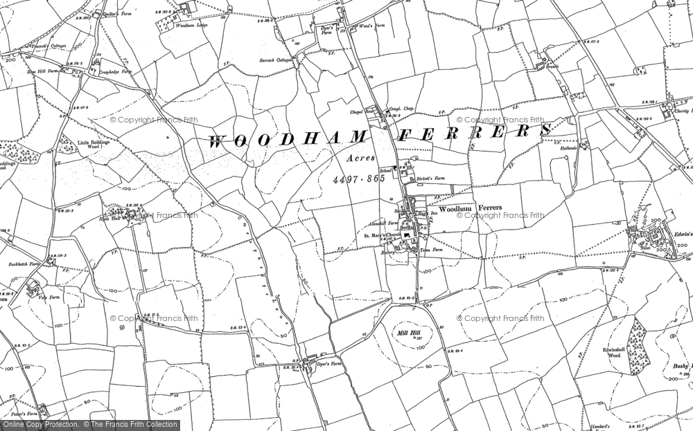 Old Map of Woodham Ferrers, 1895 in 1895
