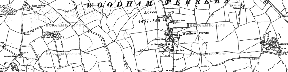 Old map of Woodham Ferrers in 1895
