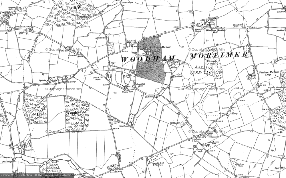 Old Map of Woodham Mortimer, 1895 in 1895