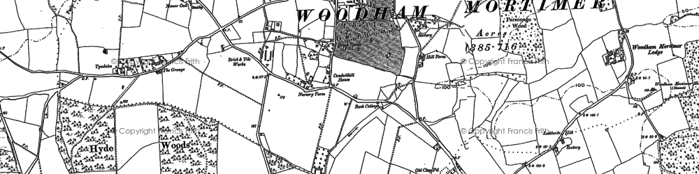 Old map of Woodham Mortimer in 1895