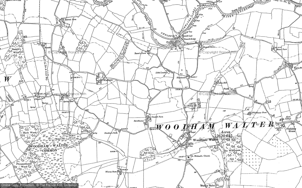 Old Map of Historic Map covering Woodham Walter Common in 1895