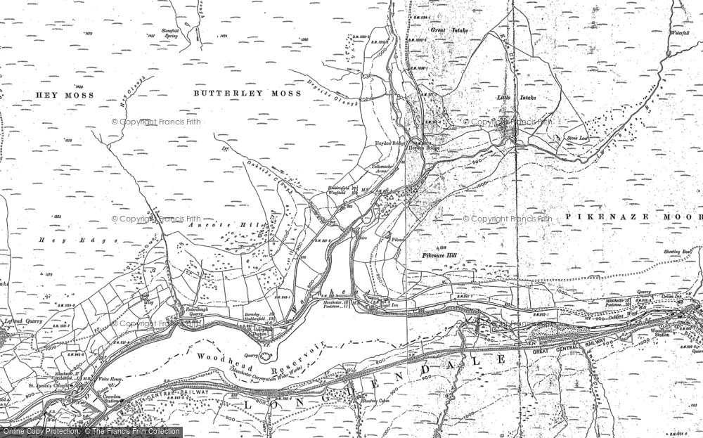 Old Map of Historic Map covering Woodhead Reservoir in 1881