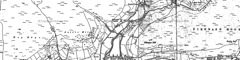 Old map of Withens Moor in 1881