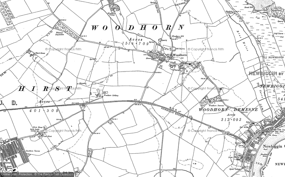 Map of Woodhorn, 1896