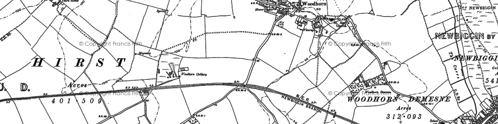 Old map of Woodhorn in 1896