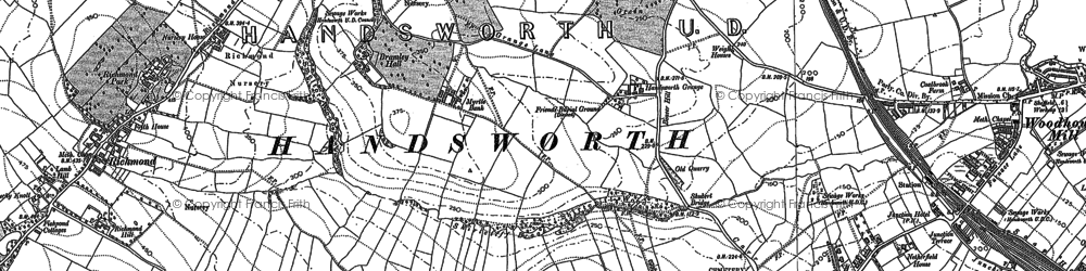 Old map of Woodhouse in 1851