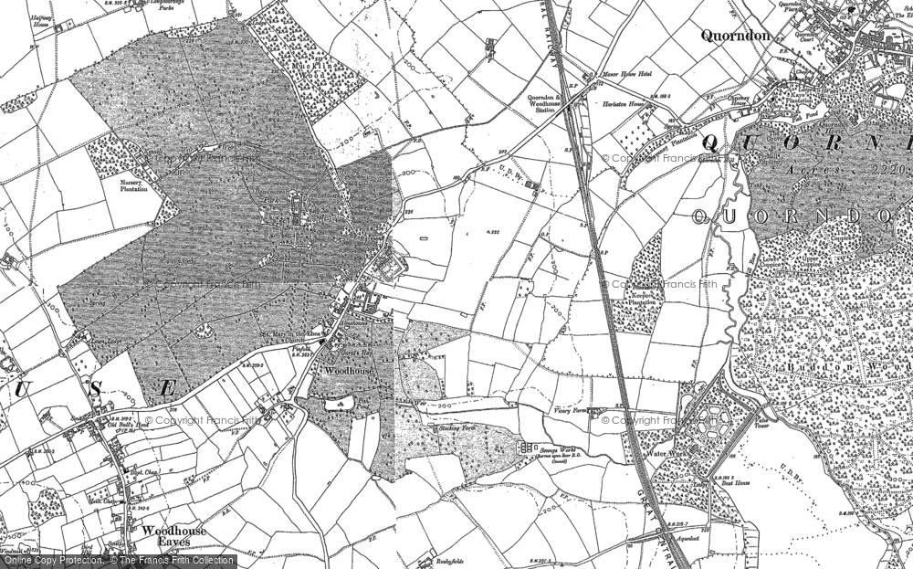 Old Map of Woodhouse, 1883 in 1883