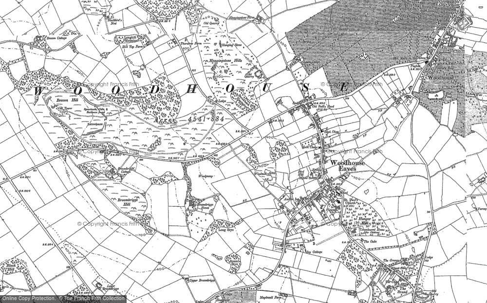 Old Map of Woodhouse Eaves, 1883 in 1883