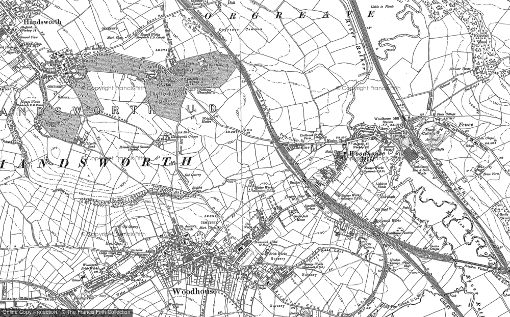 Old Map of Woodhouse Mill, 1890 in 1890