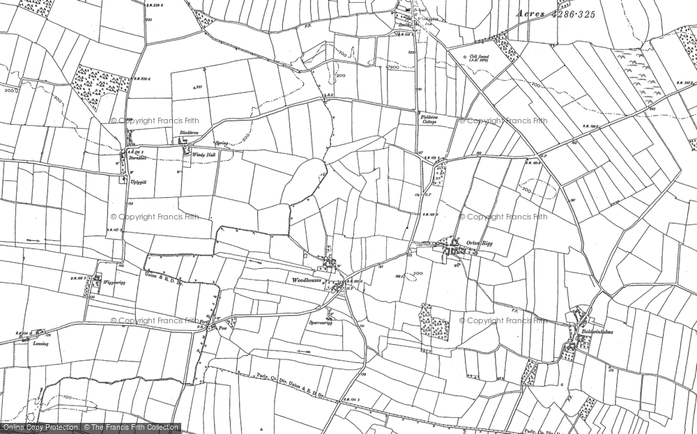 Old Map of Woodhouses, 1890 - 1899 in 1890