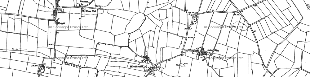 Old map of Woodhouses in 1890